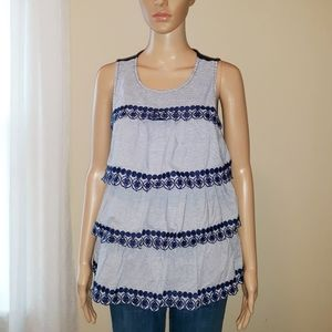 Crown & Ivy Embriodered Striped Ruffle Tiered Tank